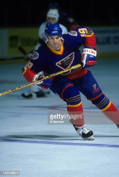 Brendan Shanahan of the St Louis Blues skates on the ice during an NHL game against the Winnipeg Jets circa 1995 at the Winnipeg Arena in Winnipeg...