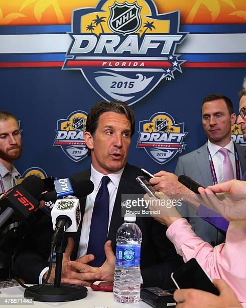 Brendan Shanahan of the Toronto Maple Leafs speaks with the media following the 2015 NHL Draft at BBT Center on June 27 2015 in Sunrise Florida