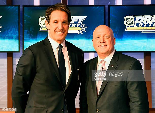 Brendan Shanahan President of the Toronto Maple Leafs poses with Bill Daly Deputy Commissioner of the National Hockey League duringThe National...
