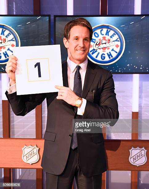 Brendan Shanahan President of the Toronto Maple Leafs shows off the Leafs pick during The National Hockey League Draft Lottery at the CBC Studios in...