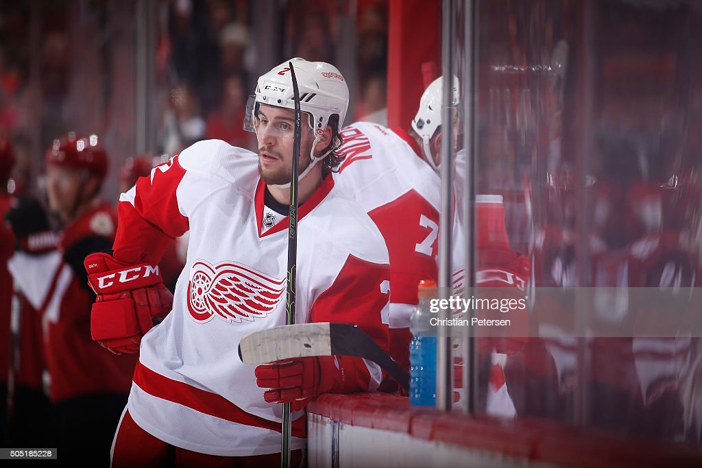 <a gi-track='captionPersonalityLinkClicked' href=/galleries/search?phrase=Brendan+Smith+-+Ice+Hockey+Player&family=editorial&specificpeople=10537682 ng-click='$event.stopPropagation()'>Brendan Smith</a> #2 of the Detroit Red Wings during the NHL game against the Arizona Coyotes at Gila River Arena on January 14, 2016 in Glendale, Arizona. The Red Wings defeated the Coyotes 3-2 in overtime.