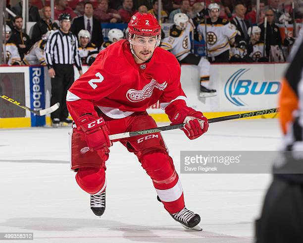 Brendan Smith of the Detroit Red Wings follows the play during an NHL game against the Boston Bruins at Joe Louis Arena on November 25 2015 in...