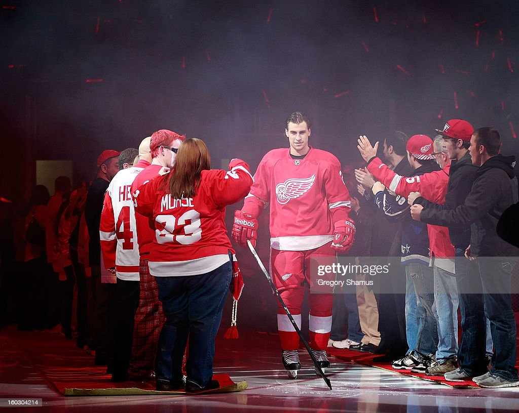 Brendan Smith #2 of the Detroit Red Wings is introduced prior to playing the Dallas Stars at Joe Louis Arena on January 22, 2013 in Detroit, Michigan.