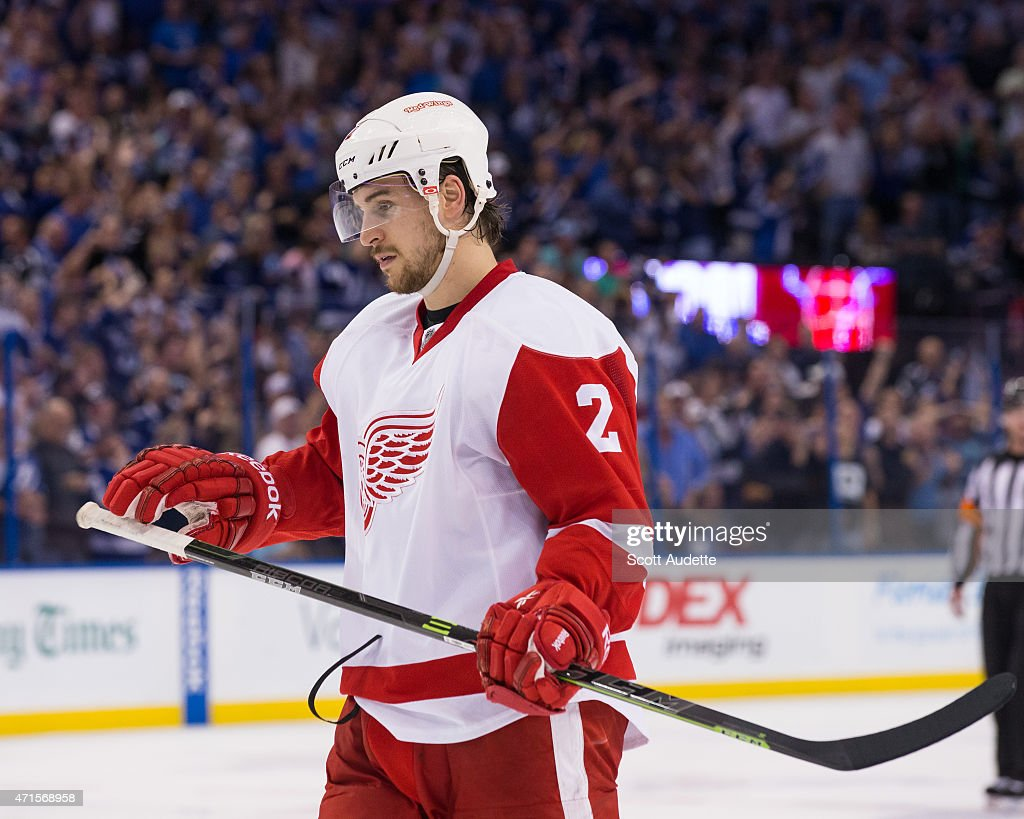 <a gi-track='captionPersonalityLinkClicked' href=/galleries/search?phrase=Brendan+Smith+-+Ice+Hockey+Player&family=editorial&specificpeople=10537682 ng-click='$event.stopPropagation()'>Brendan Smith</a> #2 of the Detroit Red Wings reacts to a goal for the Tampa Bay Lightning during the third period of Game Seven of the Eastern Conference Quarterfinals during the 2015 NHL Stanley Cup Playoffs at the Amalie Arena on April 29, 2015 in Tampa, Florida.
