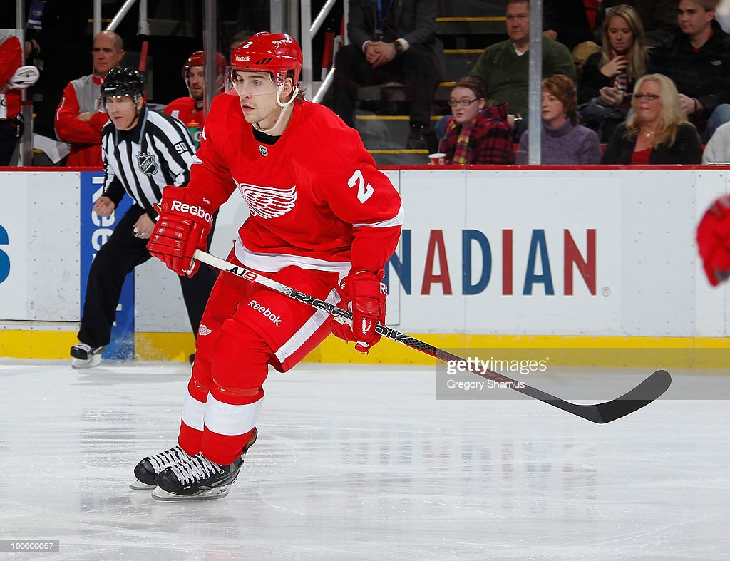 Brendan Smith #2 of the Detroit Red Wings skates against the Minnesota Wild at Joe Louis Arena on January 25, 2013 in Detroit, Michigan.