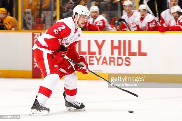 Brendan Smith of the Detroit Red Wings skates against the Nashville Predators during the second period at Bridgestone Arena on February 4 2017 in...