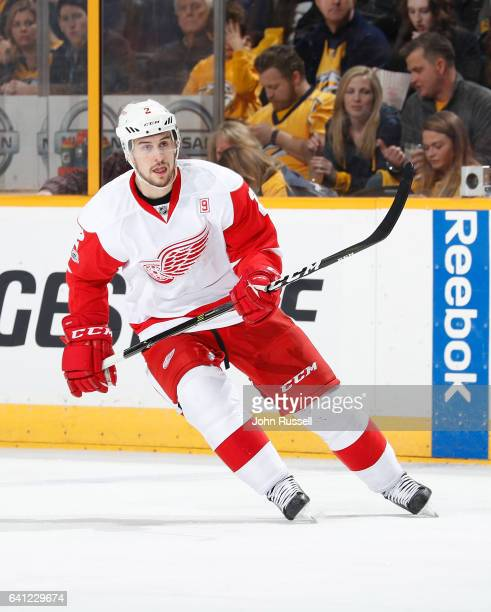 Brendan Smith of the Detroit Red Wings skates against the Nashville Predators during an NHL game at Bridgestone Arena on February 4 2017 in Nashville...