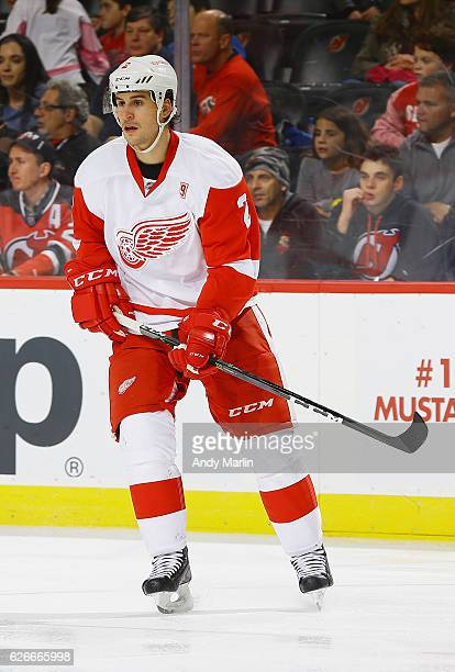 Brendan Smith of the Detroit Red Wings skates against the New Jersey Devils during the game at Prudential Center on November 25 2016 in Newark New...