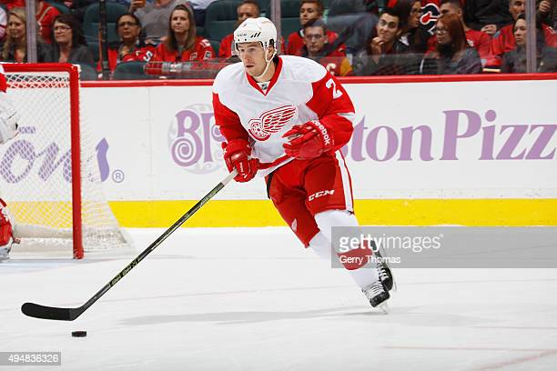 Brendan Smith of the Detroit Red Wings skates in his 200th NHL game against the Calgary Flames at Scotiabank Saddledome on October 23 2015 in Calgary...
