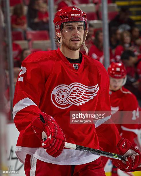 Brendan Smith of the Detroit Red Wings skates in warmups prior to the NHL game against the Columbus Blue Jackets on December 16 2014 at Joe Louis...