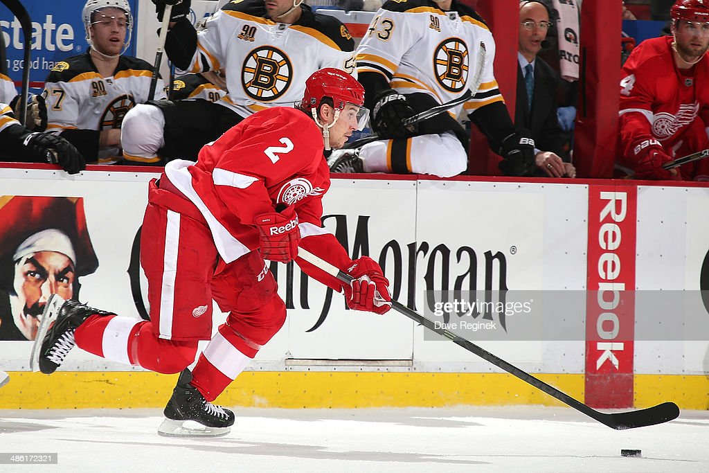 Brendan Smith #2 of the Detroit Red Wings skates up ice during Game Three of the First Round of the 2014 Stanley Cup Playoffs against the Boston Bruins on April 22, 2014 at Joe Louis Arena in Detroit, Michigan. The Bruins defeated Detroit 3-0