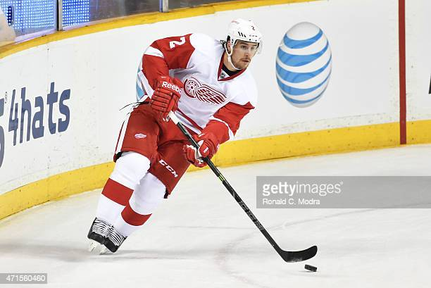 Brendan Smith of the Detroit Red Wings skates with the puck during a NHL game against the Nashville Predators at Bridgestone Arena on February 28...