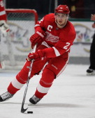 Brendan Smith of the Detroit Red Wings skates with the puck during the NHL Prospects Tournament on September 13 2011 in Traverse City Michigan