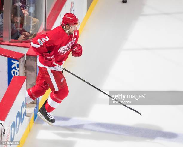 Brendan Smith of the Detroit Red Wings steps out for warm ups before an NHL game against the New York Islanders at Joe Louis Arena on February 21...