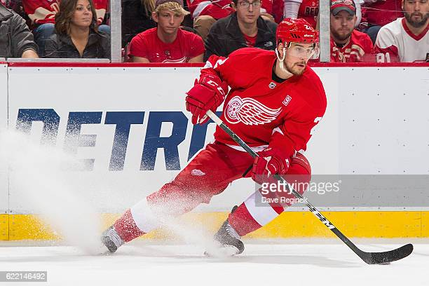 Brendan Smith of the Detroit Red Wings stops with the puck during an NHL game against the Edmonton Oilers at Joe Louis Arena on November 6 2016 in...