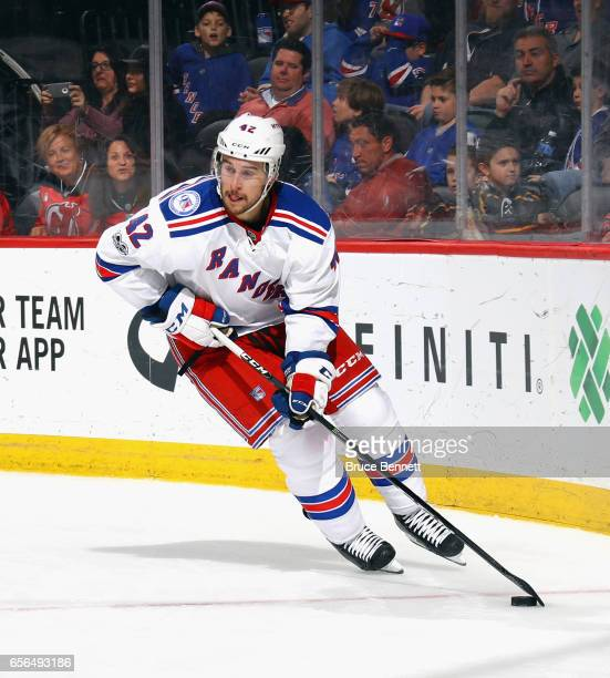 Brendan Smith of the New York Rangers skates against the New Jersey Devils at the Prudential Center on March 21 2017 in Newark New Jersey The Devils...