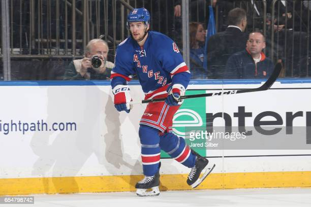 Brendan Smith of the New York Rangers skates against the Tampa Bay Lightning at Madison Square Garden on March 13 2017 in New York City The Tampa Bay...