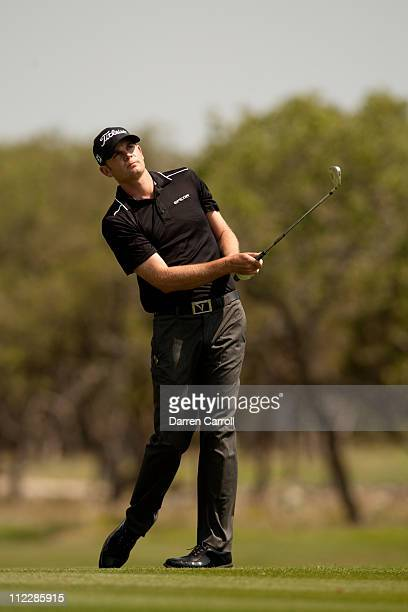 Brendan Steele follows through on an approach shot during the final round of the Valero Texas Open at the ATT Oaks Course at TPC San Antonio on April...