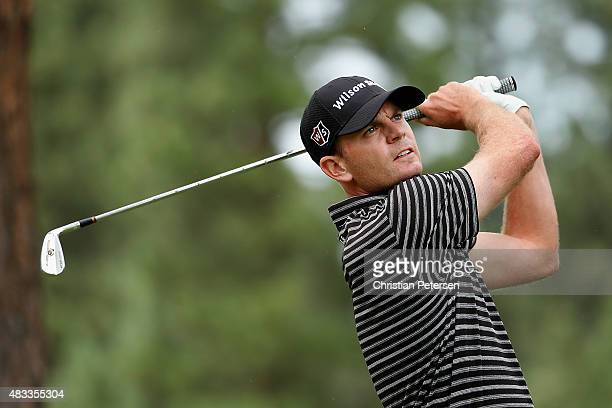 Brendan Steele hits a tee shot on the seventh hole during the second round of the Barracuda Championship at the Montreux Golf and Country Club on...