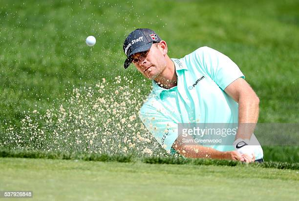 Brendan Steele hits his third shot from a bunker on the seventh hole during the second round of The Memorial Tournament at Muirfield Village Golf...