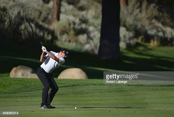 Brendan Steele of the United States hits his approach shot on the 17th hole during the third round of the Barracuda Championship at the Montreux Golf...