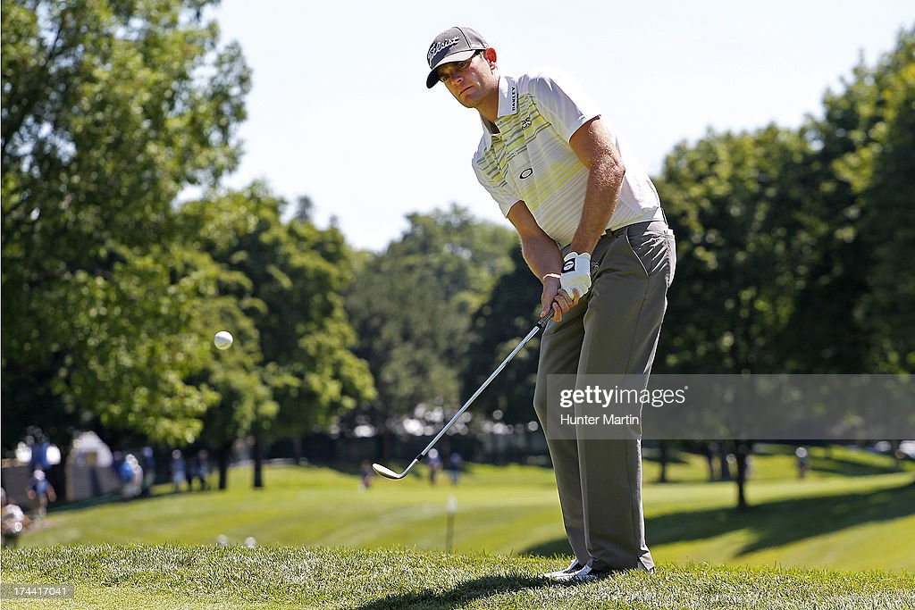 <a gi-track='captionPersonalityLinkClicked' href=/galleries/search?phrase=Brendan+Steele&family=editorial&specificpeople=4474179 ng-click='$event.stopPropagation()'>Brendan Steele</a> of the United States hits his third shot on the ninth hole during round one of the RBC Canadian Open at Glen Abby Golf Club on July 25, 2013 in Oakville, Ontario, Canada.