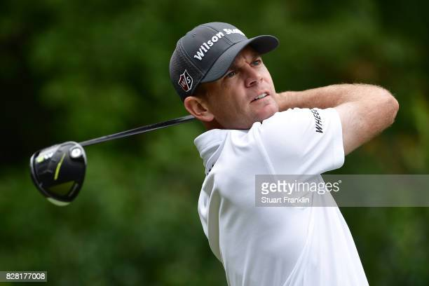 Brendan Steele of the United States plays his shot during a practice round prior to the 2017 PGA Championship at Quail Hollow Club on August 9 2017...