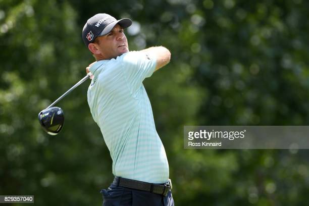 Brendan Steele of the United States plays his shot from the 18th tee during the first round of the 2017 PGA Championship at Quail Hollow Club on...