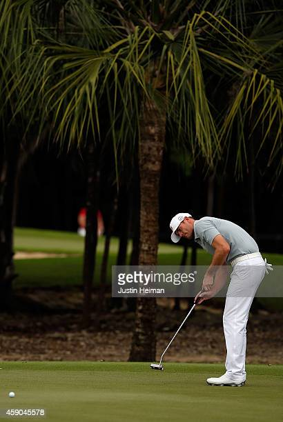 Brendan Steele of the United States putts on the 8th green during the third round of the OHL Classic at Mayakoba on November 15 2014 in Playa del...