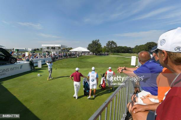 Brendan Steele plays a tee shot on the first hole during the final round of the BMW Championship at Conway Farms Golf Club on September 17 2017 in...