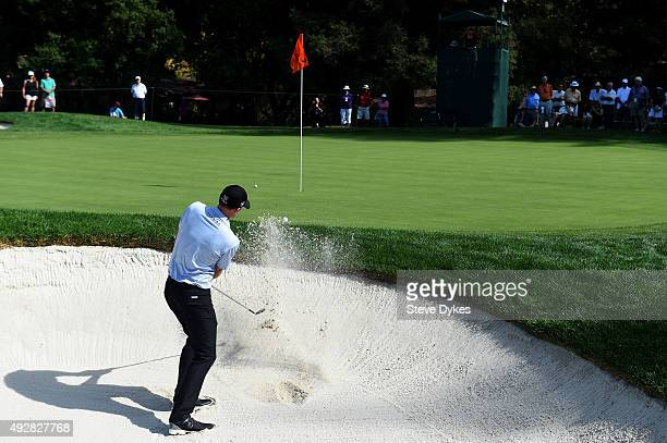 Brendan Steele plays from a bunker to the seventh green green during the first round of the Fryscom Open at the North Course of the Silverado Resort...