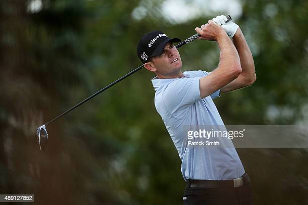 Brendan Steele plays his shot from the fourth tee during the Third Round of the BMW Championship at Conway Farms Golf Club on September 19 2015 in...