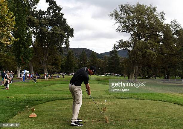 Brendan Steele plays his shot from the sixth tee during the third round of the Fryscom Open on October 17 2015 at the North Course of the Silverado...