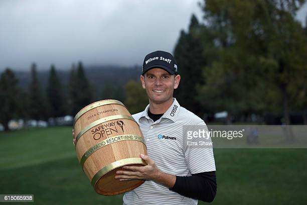Brendan Steele poses with the trophy after his winning round on the 18th hole during the final round of the Safeway Open at the North Course of the...