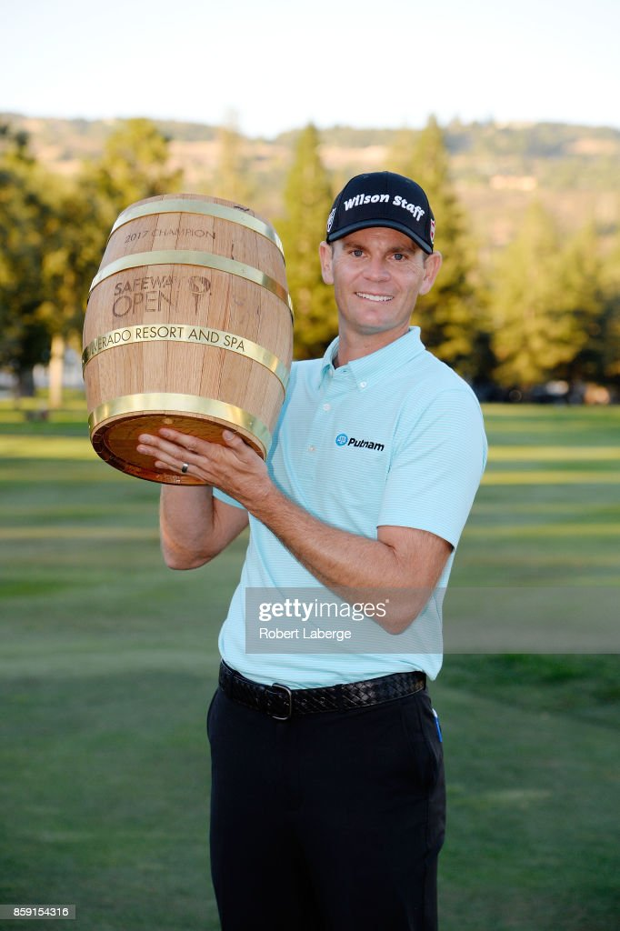 Brendan Steele poses with the trophy after winning The Safeway Open at the North Course of the Silverado Resort and Spa on October 8, 2017 in Napa, California.