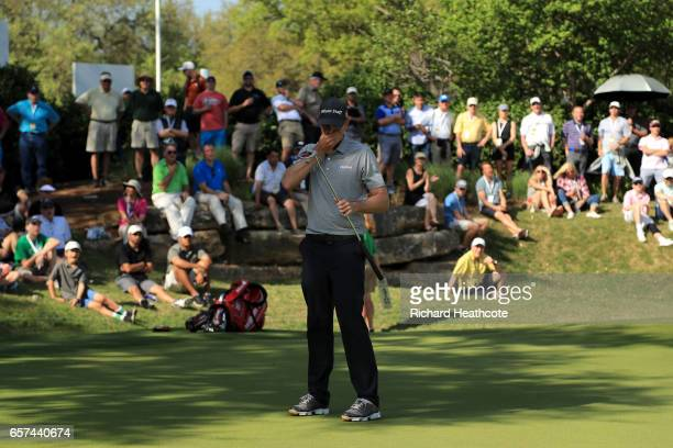 Brendan Steele reacts after putting on the 18th hole of his match during round three of the World Golf ChampionshipsDell Technologies Match Play at...