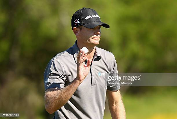 Brendan Steele reacts to his putt on the third hole during the second round of the Valero Texas Open at TPC San Antonio ATT Oaks Course on April 22...