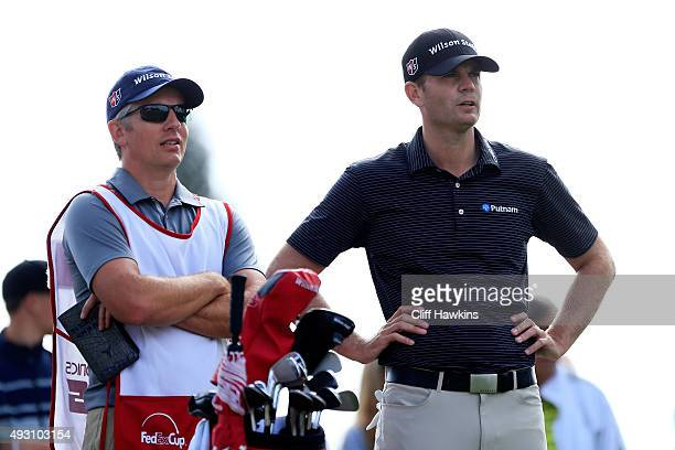 Brendan Steele talks to his caddie on the second tee during the third round of the Fryscom Open on October 17 2015 at the North Course of the...