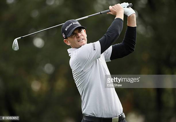 Brendan Steele tees off on the 14th hole during the final round of the Safeway Open at the North Course of the Silverado Resort and Spa on October 16...
