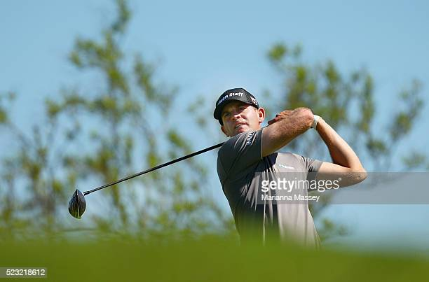 Brendan Steele tees off on the fourth hole during the second round of the Valero Texas Open at TPC San Antonio ATT Oaks Course on April 22 2016 in...