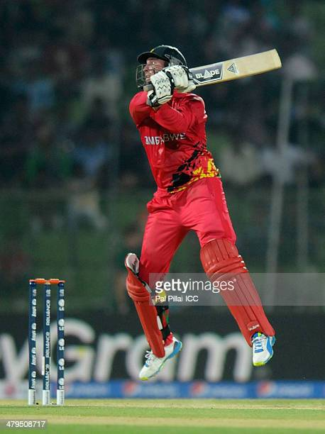 Brendan Taylor captain of Zimbabwe bats during the ICC T20 World Cup match between Zimbabwe and Netherland played at Sylhet International Cricket...