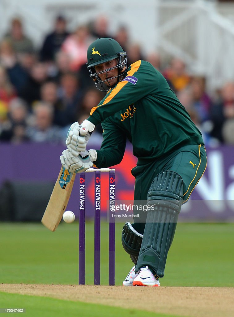 <a gi-track='captionPersonalityLinkClicked' href=/galleries/search?phrase=Brendan+Taylor&family=editorial&specificpeople=798976 ng-click='$event.stopPropagation()'>Brendan Taylor</a> of Nottingham Outlaws during the NatWest T20 Blast between Nottingham Outlaws and Durham Jets at Trent Bridge on May 31, 2015 in Nottingham, England.