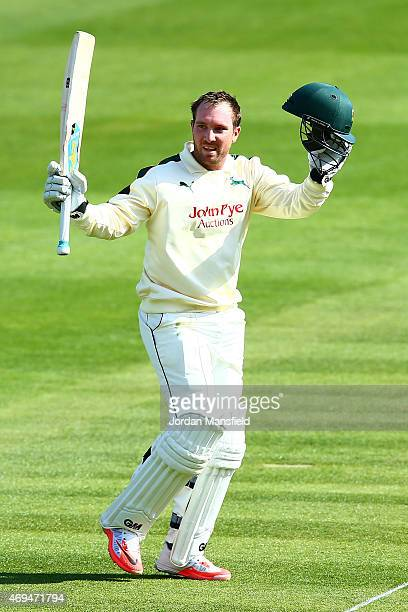 Brendan Taylor of Nottinghamshire acknowledges the crowd after making his century during day one of the LV County Championship Division One match...