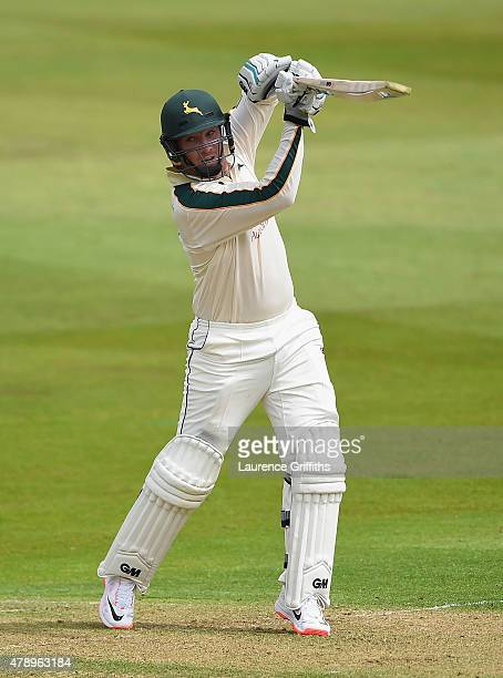 Brendan Taylor of Nottinghamshire hits out during the LV County Championship match between Nottinghamshire and Worcestershire at Trent Bridge on June...