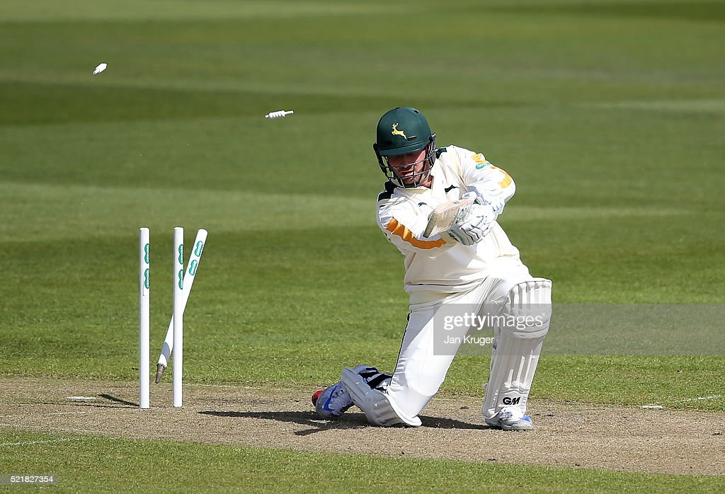 Brendan Taylor of Nottinghamshire is bowled by Neil Wagner of Lancashire during day one of the Specsavers County Championship Division One match...