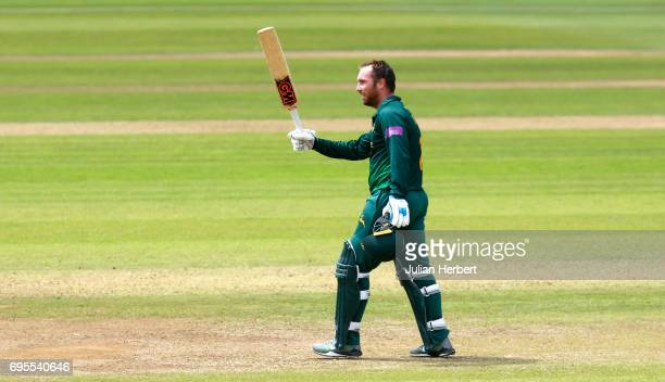 Brendan Taylor of Nottinghamshire Outlaws celebrates his century during The Royal London OneDay Cup Play Off match between Somerset and...