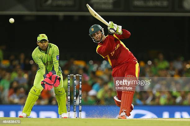 Brendan Taylor of Zimbabwe bats during the 2015 ICC Cricket World Cup match between Pakistan and Zimbabwe at The Gabba on March 1 2015 in Brisbane...