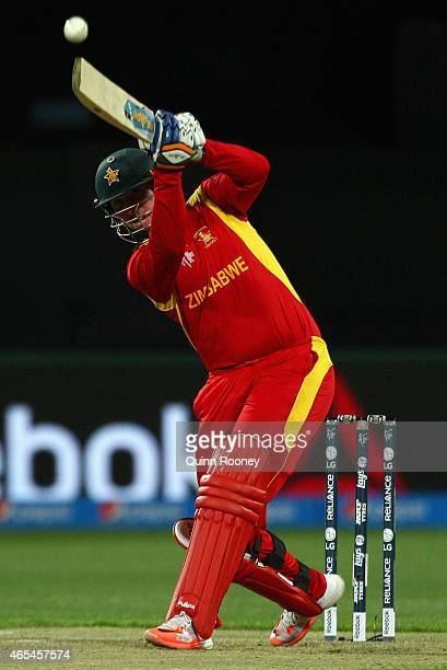 Brendan Taylor of Zimbabwe bats during the 2015 ICC Cricket World Cup match between Zimbabwe and Ireland at Bellerive Oval on March 7 2015 in Hobart...
