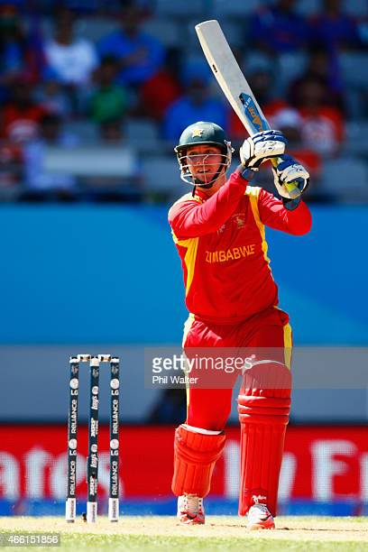 Brendan Taylor of Zimbabwe bats during the 2015 ICC Cricket World Cup match between India and Zimbabwe at Eden Park on March 14 2015 in Auckland New...