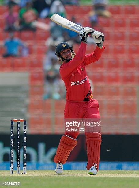 Brendan Taylor of Zimbabwe bats during the ICC T20 World Cup match between Zimbabwe and UAE at Sylhet International Cricket Stadium on March 21 2014...